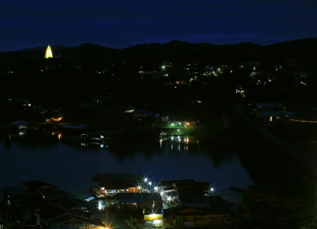 Sangklaburi cityscape at night in Kanchanaburi province Asia thailand photo