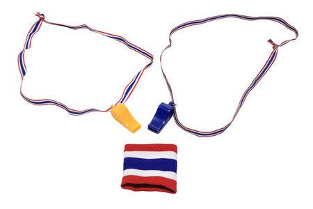 wristband: Thai flag wristband and Whistles isolated on white Stock Photo
