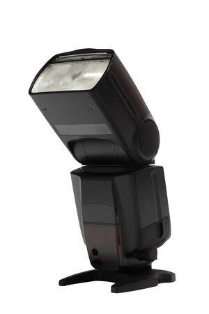 External camera flash speedlight isolated on white background Stock Photo
