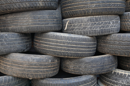 Stack of old tires photo