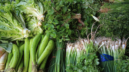 Many kinds of vegetables in Thai market photo