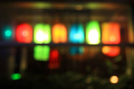 crowded space: Blurred background of Night lights in bar