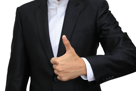 Business man hand with thumb up isolated on white background photo