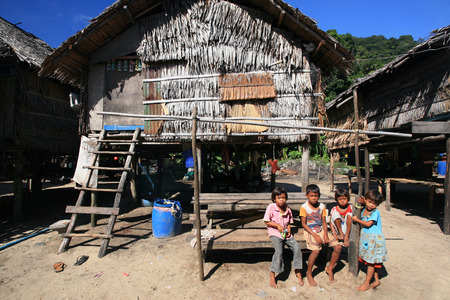 PHANG NGA, THAILAND- MARCH 04, 2012: Unidentified children at Morgan, sea gypsies, village. Morgan locates a village in small island of the southern of Koh Surin.