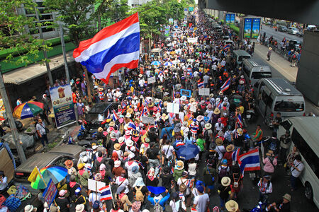 BANGKOK, THAILAND-MARCH 29, 2014: Thai PDRC (Peoples Democratic Reform Committee) protestors rally in Bangkok downtown today. Rally is to ask for Yingluck resign and reform before election.