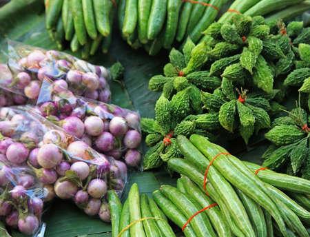 variety of vegetables in Thai fresh market photo