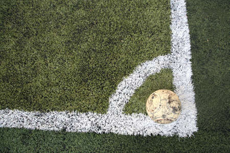 Old ball on new soccer ground at conner spot photo
