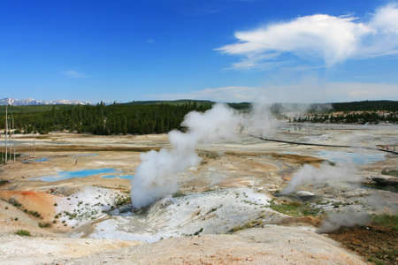 aquifer: Steaming pool of Geysers at Norris Basin  in Yellowstone National Park, Wyoming