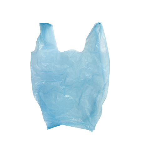 Blue Plastic cellophane bag isolated  photo