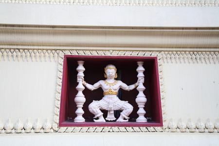 White Hanuman decorated in Thai temple wall photo