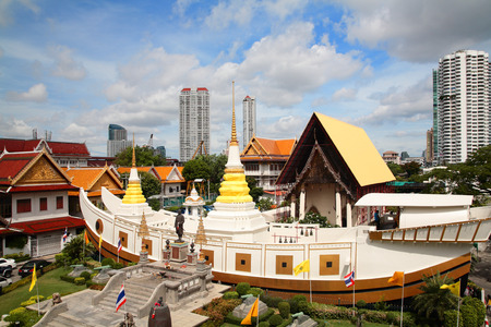 Aerial view of wat Yannawa against blue sky in Bangkok, Thailand
