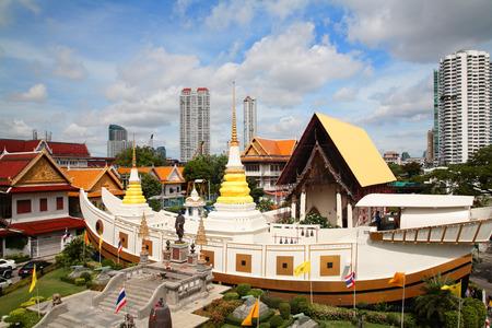 Aerial view of wat Yannawa against blue sky in Bangkok, Thailand