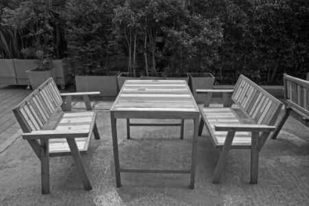 Black and white  Modern table and chairs at the garden photo