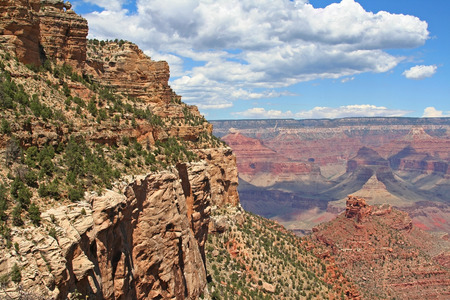 Landscape of Grand Canyon against blue sky at summer in Arizona, USA photo
