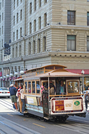 SAN FRANCISCO, USA - AUGUST 28, 2006: Passengers enjoy a ride in a cable car. It is the oldest mechanical public transport in San Francisco operated since 1873.