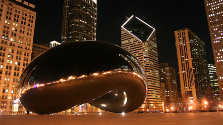 CHICAGO, IL - FEBRUARY 23, 2007:  Bean or Cloud Gate at night in Millennium Park. Here is the major landmark but Admission is free.