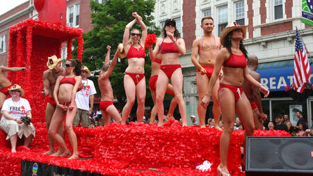 CHICAGO, IL, US - JUNE 25, 2007: Unidentified Gay man and women on float in Chicago Gay Pride Parade Celebration at Broadway street.