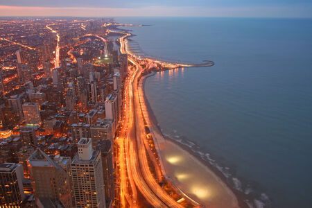 lake shore drive: Chicago Lake Shore Drive Aerial skyline View at twilight Stock Photo