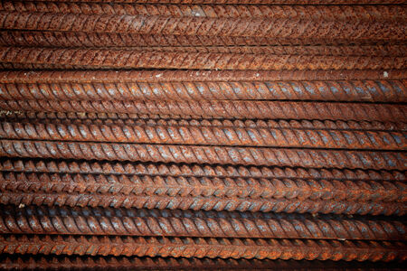 Old steel rods for construction photo