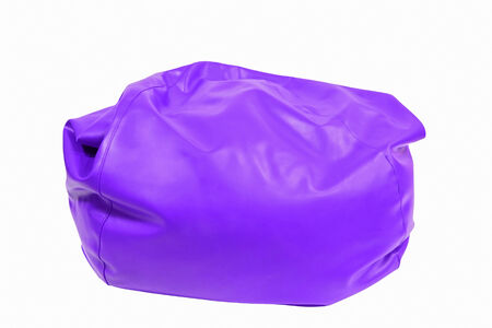 beanbag: Purple leather beanbag isolated on white background