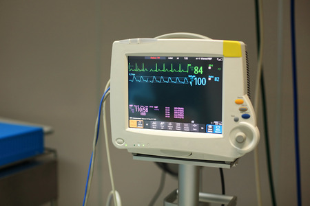 electrocardiograph: Patients Monitor in Intensive Care Unit (cardiovascular) in Hospital