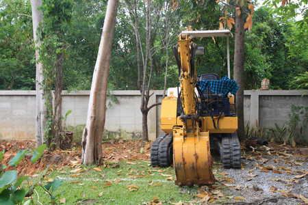 earth mover: Excavator or earth mover at construction site