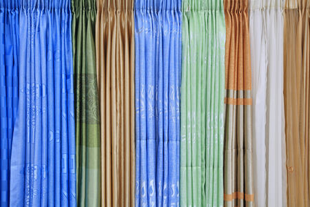 Closeup texture of design colorful curtain fabrics by different styles