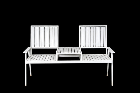 White Iron chair furniture isolated on black background photo