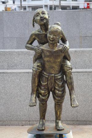 korat: Children statues demonstrate Thai traditional child recreation at Korat or Nakhon Ratchasima downtown.
