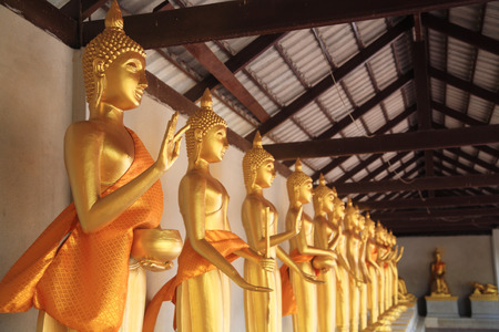 Meditating Buddha Statues by different styles at Thai Temple photo
