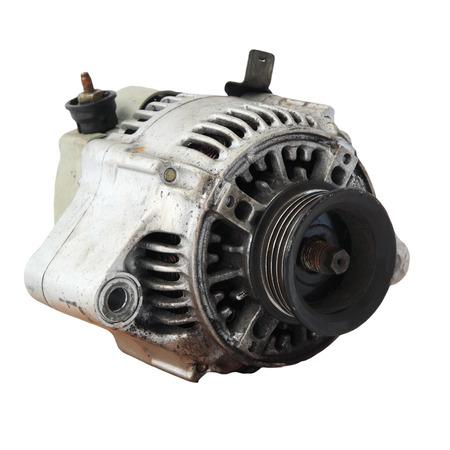 alternator: Used automobile generator or Dynamo isolated on white background