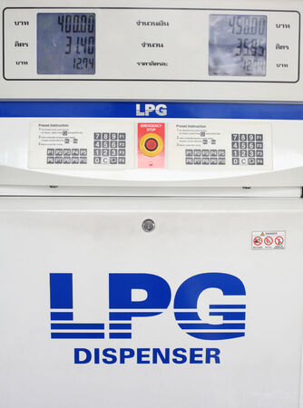 gas lpg dispenser console by closeup view
