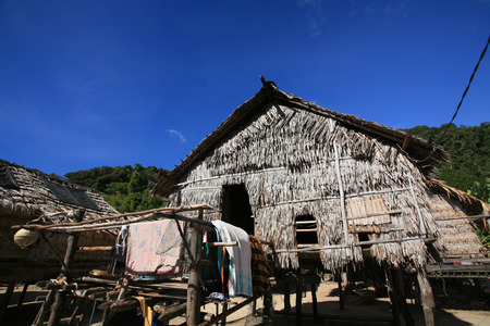 Islander, Morgan, tradition house against blue sky at island near Koh surin, Thailand Stock Photo