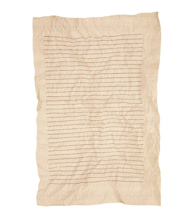 Old wrinkled brown Notebook Line Paper Isolated on White Background photo