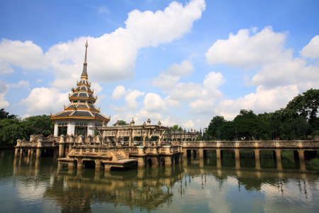 nonthaburi province: pagoda with reflection on the pond at Chalerm Prakiat park in Nonthaburi province, Thailand Stock Photo