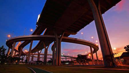 Bhumibol Bridge landscape at dusk in Bangkok, Thailand photo