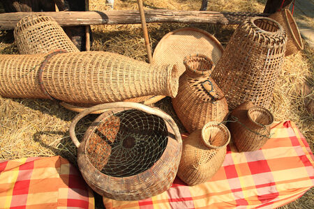Basket wicker by different styles for traditional Thai handmade