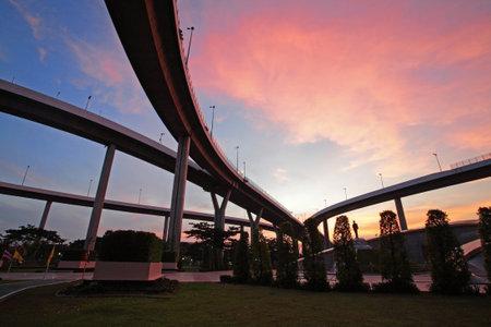 bhumibol: Bhumibol Suspension Bridge at dusk under Sunset, Bangkok