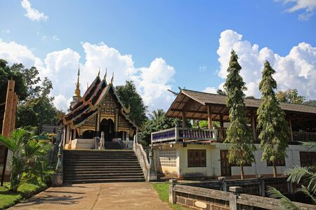 Beautiful thai north east style temple at Mae chaem in Chiang Mai, Thailand photo