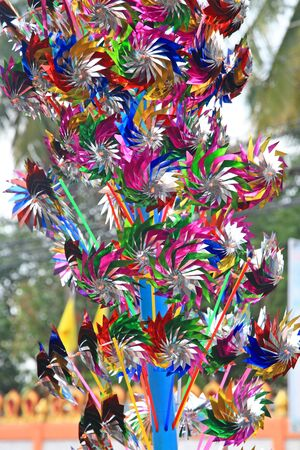 playing the market: Many Colorful windmill toys for kids selling in Thai market