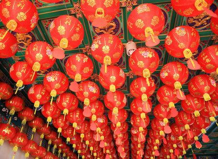 chinese new year dragon: Many Traditional lanterns hanging on Chinese temple