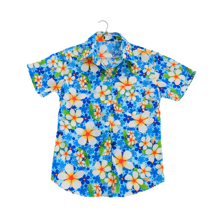 Traditional thai flower shirt isolated on white. This shirt usually wear in thai new year, Songkran festival