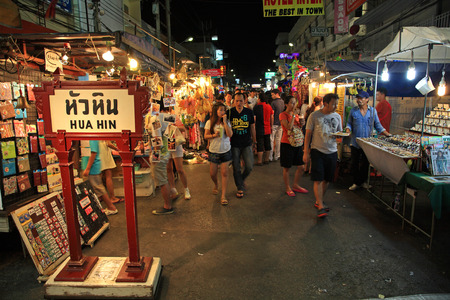 HUA HIN, THAILAND - MAY 01, 2016: Unidentified Tourists visit Hua Hin night market. Here is the biggest night market in Hua Hin.