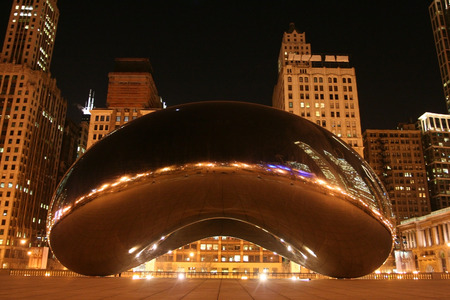 american midwest: The Bean at night at Millennium Park in Chicago IL US Editorial