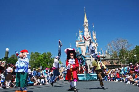 ORLANDO, FL, USA - MARCH 26, 2008: Many Disney cartoon characters marching parade to greeting visitors at Magic Kingdom park of Walt Disney world.