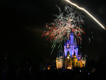 theme parks: ORLANDO, FL, USA - MARCH 26, 2008: Firework show above the castle at Magic Kingdom theme park of Walt Disney world. Here is first-built in 1971 of the four theme parks.