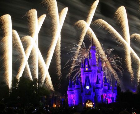 ORLANDO, FL, USA - MARCH 26, 2008: Firework above the castle at Magic Kingdom theme park of Walt Disney world. Here is first-built in 1971 of the four theme parks. Editoriali