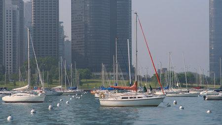 CHICAGO, IL, US - MAY 27, 2006: Many sailboats parking at Monroe Harbor at Michigan lake,