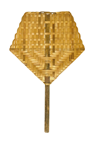 weaved: weaved bamboo handheld fan isolated on white. Thai traditional object