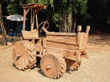 earthmover: Wooden model of the excavator or earthmover